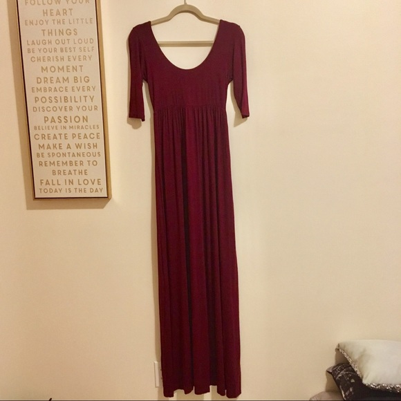fab'rik Dresses & Skirts - Super Long Half Sleeve Maroon Maxi Dress